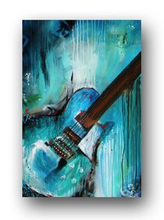 """Guitar Painting Abstract Painting Large Original Painting on Canvas Contemporary Wall Art Palette Knive Textured Blue & Teal 36"""" Heather Day"""