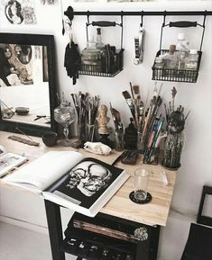 art station with a black color scheme . - Huh … art station with a black color scheme -Huh . art station with a black color scheme . - Huh … art station with a black color scheme - Art Studio Organization, Organization Ideas, Art Station, Aesthetic Rooms, Artist Aesthetic, Witch Aesthetic, Aesthetic Painting, Room Inspiration, Workspace Inspiration