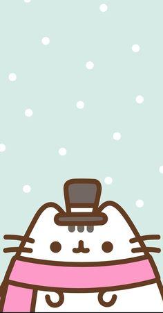 Iphone Wallpaper Cat, Cute Cat Wallpaper, Winter Wallpaper, Kawaii Wallpaper, Cute Backgrounds, Cute Wallpapers, Pusheen Cute, Christmas Phone Wallpaper, Kawaii Doodles