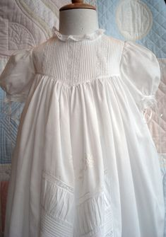 Borrow from the past to start your own traditions. This is what the babies from Downton Abby would be wearing. This beautiful Christening Gown Baptism Outfit, Christening Outfit, Baptism Dress, Christening Gowns, Blessing Dress, Moda Vintage, Baby Gown, Heirloom Sewing, French Lace