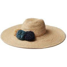 Hat Attack Raffia Braided Pom Pom Hat Goop ❤ liked on Polyvore featuring accessories, hats, raffia hat, hat attack, braid hat, sun hat and woven hat