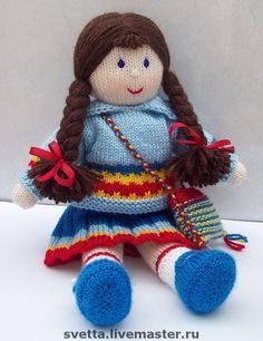 """Купить Вязаная игрушка """"Кукла с сумочкой"""" - кукла, вязаная кукла, девочка, подарок для девочки, сумочка"""