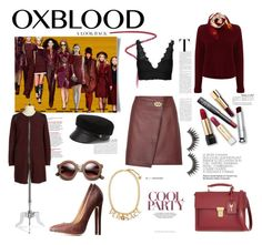 """"""" OXBLOOD: the new BLACK """" by pieracuzman ❤ liked on Polyvore featuring Reiss, 360 Sweater, Yves Saint Laurent, Burberry, Rafaella, Tiffany & Co., Topshop, Versace, Eugenia Kim and Charlotte Russe"""