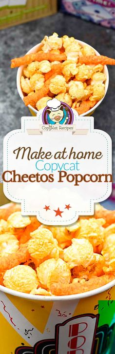Do you love Cheese popcorn? Up your game by adding Cheetos to the mix. This popcorn mix is sold at fairs, movie theaters, and more. You don't need to leave home to make this treat.