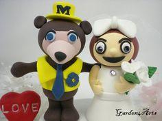 Custom Michigan & Ohio Wedding Cake Topper  - this makes me laugh!!