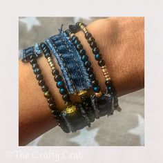 Upcycle old Jeans. Denim Bracelet, Bracelets, Boho, Bohemian Fashion, Upcycle, Crafty, Beautiful, Jewelry, Instagram