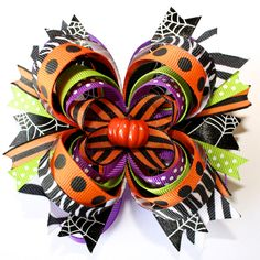 $9.99 Super cute Halloween stacked boutique bow. I wonder if I could make this...?