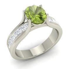 Dwight Ring with Oval Peridot, VS Diamond | 1.61 carat Oval Peridot  Sidestone Ring in 14k White Gold | Diamondere