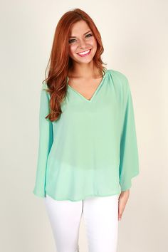 First Date Flair Top in Mint