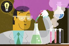 """Illustration of #scientist in a #lab by Kimberly Carney / Fred Hutch News Service. Story: """"Fantastic failures: Scientific setbacks can fuel big gains"""" http://www.fredhutch.org/en/news/center-news/2015/08/scientific-failures-can-fuel-historic-progress.html"""
