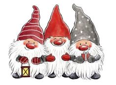 - Three happy and bearded gnomes. -- All images (C) Copyright Åsa Gustafsson Christmas Rock, Christmas Gnome, Winter Christmas, Vintage Christmas, Merry Christmas, Christmas Clipart, Christmas Printables, Christmas Pictures, Illustration Noel