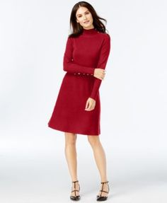 INC International Concepts Mock-Neck Button-Shoulder Sweater Dress, Only at Macy's