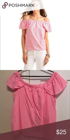 Vineyard vines off the shoulder top Only worn once! Stripes are white and hot pink. Dog friendly home. Vineyard Vines Tops Blouses