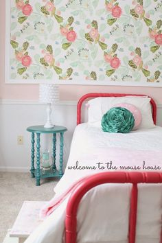 Big Girl Room with Watercolor Peony Wallpaper