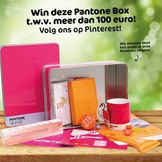 #Win deze echte #Pantone box t.w.v. meer dan 100,- euro! Gevuld met o.a. een #Pantonewaaier, #koffiemok, #fietsbel én een #Monsterbox! We verloten deze box onder onze #Pinterest volgers  en degenen die dit bericht repinnen!