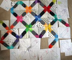 From Aussie quilter WombatQuilts -- free paper pieced pattern here.  Great color choices on the WIP, with the black and white prints and pure hues!