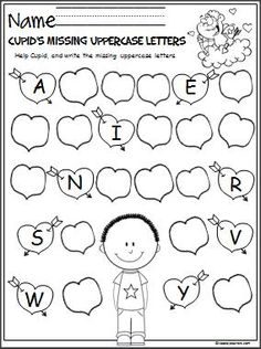 Free Valentine's Day letter writing activity.  Help Cupid by writing the missing uppercase letters on the Valentine's Day hearts.  Great February activity for Pre-K and Kindergarten.