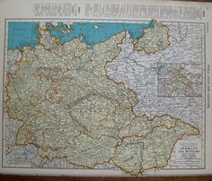 Antique GERMANY Map HUNGARY Map 1939 Vintage 1930s Map Plaindealing 6937 by plaindealing on Etsy