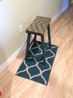 Teal Stool Redo!  Backwoods Babies: For the Love of Chalkboard Paint