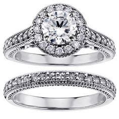 Platinum 1 3/4ct TDW White Diamond Halo Engagement Bridal Ring Set | Overstock.com Shopping - The Best Deals on Bridal Sets