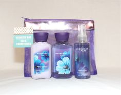 Bath and Body Works - Signature Collection - Moonlight Path –Travel Size - Gift in Purple Cosmetic Bag Set * You can get more details here : Travel Skincare
