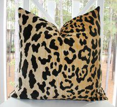 Decorative Pillow Covers - 18 x 18 Leopard Print Velvet Pillow Cover- Animal Throw Pillow. $42.00, via Etsy.