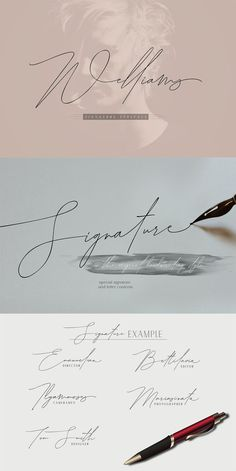 Welliams a work that is purely a result of handwriting, has a natural characteristic. Calligraphy Fonts, Script Fonts, Typography Fonts, Typography Design, Hand Lettering, Signature Ideas, Signature Fonts, The Signature, Signature Design