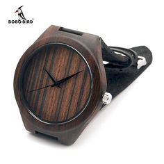Natural Africa Black Wooden Wristwatch with Genuine Leather Band Men's Wood Wrist Watch