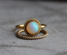 14k Gold Opal ring Engagement ring Wedding ring by Studio1980