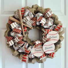 Customizable Baseball Wreath by BurlapandBrushstroke on Etsy https://www.etsy.com/listing/221426849/customizable-baseball-wreath