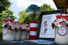cat in the hat party decor | Welcome table with Cat in the Hat book for guests to sign