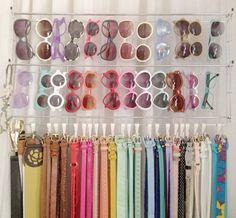sunglasses and belt organization