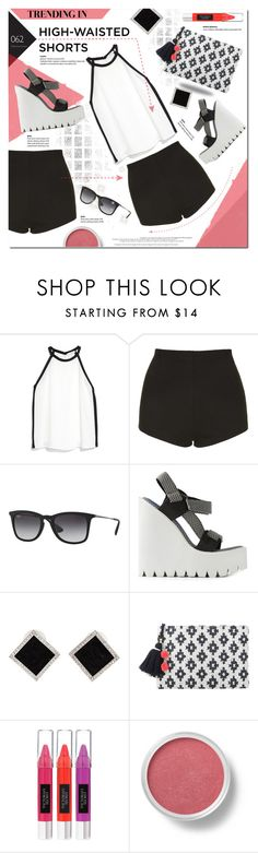"""Back in Black"" by justlovedesign ❤ liked on Polyvore featuring MANGO, Topshop, Ray-Ban, Jeffrey Campbell, Yvel, Beauty Rush, Bare Escentuals and highwaistedshorts"