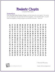 Worksheets Music History Worksheet 1000 images about music on pinterest composers education frederic chopin free printable composer word search worksheet creative resources for elementary education