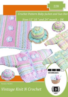 Instant Download 228 Toddler Cardigan and sun hat  & blanket Crochet Pattern- PDF - Cardy Coat hat - Instant Download by VintageKnitNCrochet on Etsy https://www.etsy.com/listing/128987718/instant-download-228-toddler-cardigan