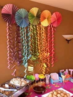 Measure Once, Cut Twice: Rainbow Party: DIY Round Banners & Streamers diy decorations party,diy deco Colorful flower fans start easy with FLOMO tissue paper! Ever since I started crafting, I made a promise to myself that I wouldn& use crepe paper to decor Paper Rosettes, Crepe Paper, Paper Flowers, Tissue Paper, Diy Party Decorations, Paper Decorations, Birthday Decorations, Photo Decorations, Halloween Decorations