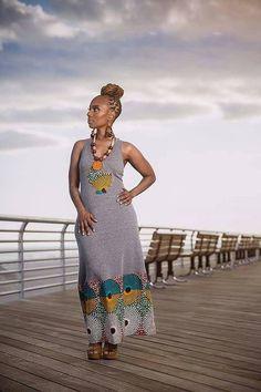Exclusive Li Li AfroT Maxi Dress with African A by LiLiCreations ~African fashion, Ankara, kitenge, African women dresses, African prints, African men's fashion, Nigerian style, Ghanaian fashion ~DKK