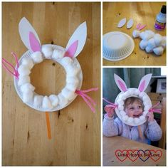 Paper plate bunny rabbit masks - Easter crafts for toddlers and preschoolers - L. - Paper plate bunny rabbit masks - Easter crafts for toddlers and preschoolers - L. Daycare Crafts, Preschool Crafts, Kids Crafts, Craft Projects, Craft Ideas, Kids Diy, Easter Projects, Easter Ideas, Decor Crafts