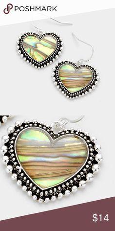 "Earrings • Color : Abalone, Antique Silver • Theme : Heart  • Size : 1"" X 1.25"" • Fish Hook Back • Abalone heart earrings Jewelry Earrings"