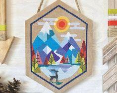 Alpine - Satsuma Street mountain scene - modern folk cross stitch pattern - Instant download PDF