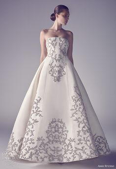 ashi studio couture 2015 strapless straight across neckline filigree floral embroidery chic ball gown wedding dress
