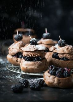 saltedtartine: chocolate cream puffs with blackberries and chocolate whipped cream.