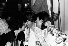 "Lou Reed, Mick Jagger and David Bowie at the Cafe Royale after Ziggy Stardust's last ""live"" performance at Hammersmith Odeon in London, Ziggy Stardust, Lady Stardust, Mick Jagger, Bianca Jagger, Freddie Mercury, Cat Stevens, Aladdin Sane, Davy Jones, Ringo Starr"