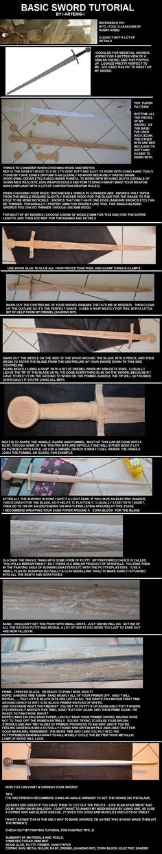 Wooden sword tutorial.  Use a putty to fill in dents and scratches then sand smooth