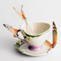 Franz Porcelain Butterfly Collection Cup Saucer Spoon