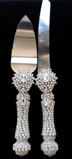 Crystal Jeweled Wedding Cake Knife & Server Set by GulfshoreDecor