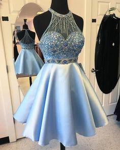 Elegant A-line Jewel Short Light Blue Prom Dress