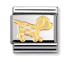 Nomination Ladies Composable Classic Gold Black And White Enamel Dog Charm Nomination Charms, Nomination Bracelet, Cute Charms, Animal Jewelry, White Enamel, Silver Charms, Charm Jewelry, Link, 18k Gold