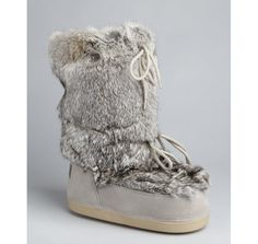 Fendi grey leather and fur moon boots | BLUEFLY up to 70% off designer brands