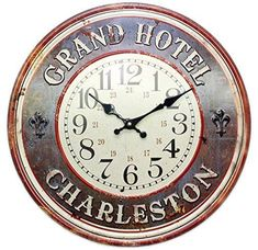 Metal Grand Hotel Charleston Kitchen Dining Wall Clock ~ Blue Charming distressed metal wall clock for any room in the house Grand Hotel Charleston and fleur de lis detailing Very striking design and sure to b Home Accessories, Clock, Hotel, Clock Wall Decor, Wall, Grand Hotel, Shabby Chic Clock, Blue Wall Clocks, Wall Clock